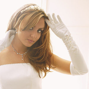 wedding dress with gloves